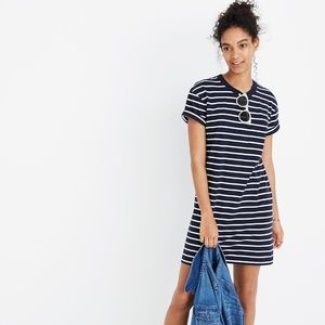 Madewell Striped Pocket Tee Dress Navy White H9160